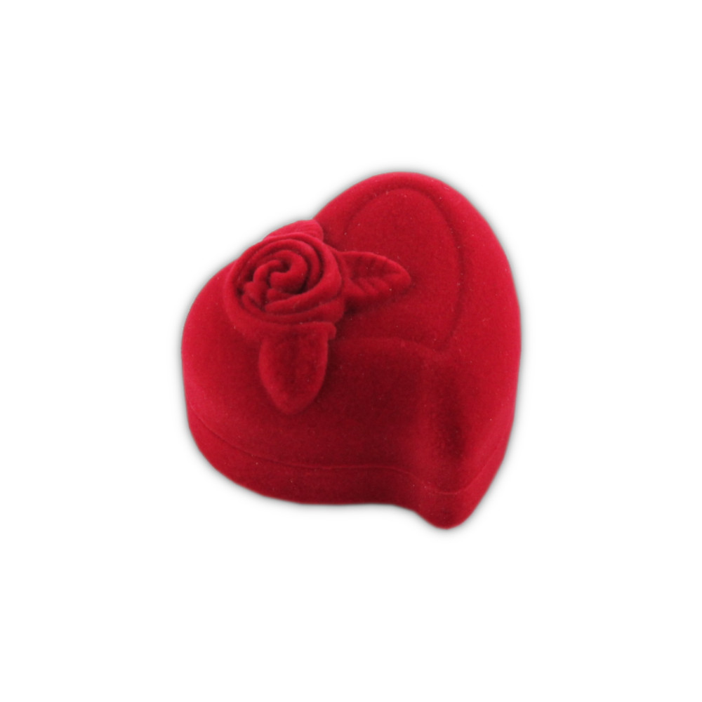 Kadife Yüzük Kutusu 12 Adet -Kırmızı Güllü Kalp