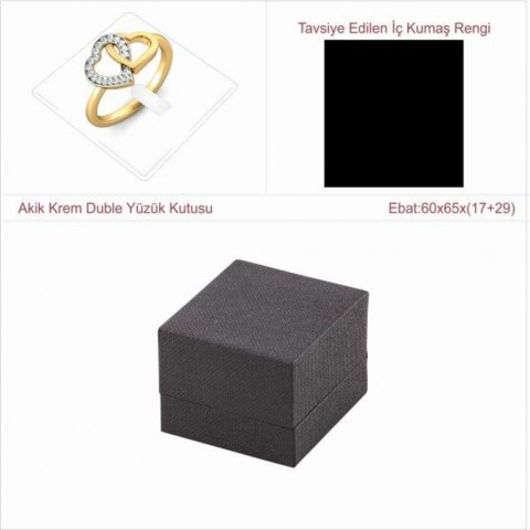 Astarya Siyah Duble Yüzük Kutusu