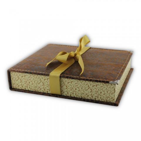 Dikişli Set Kutusu Kahverengi-Sarı