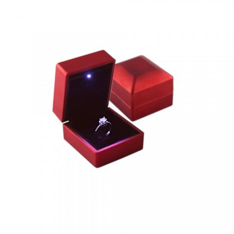 Işıklı Yüzük Kutusu 12 Adet -Kırmızı