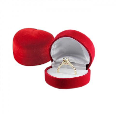 Kadife Kalp Yüzük Kutusu 12 Adet -Kırmızı