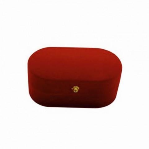 Kadife Kırmızı Oval Çift Alyans Kutusu 12 Adet