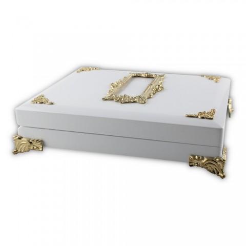 Özel Ahşap Tesbih Koleksiyon Kutusu Beyaz-Altın