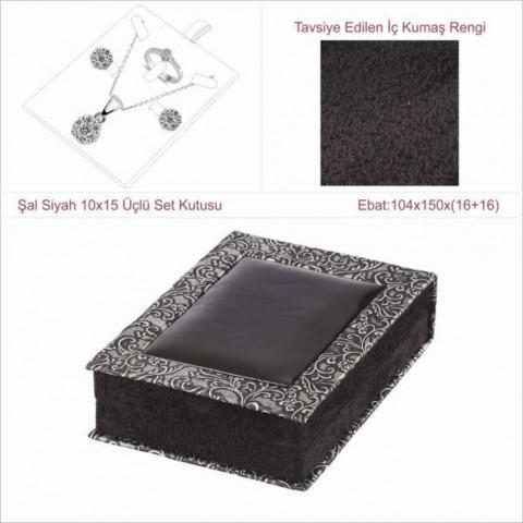 Şal Siyah 10x15 Üçlü Set Kutusu