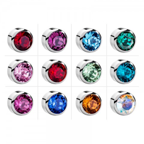 Taşlı Çelik Medikal Kulak Delme Küpesi 12 Çift (Renkli)